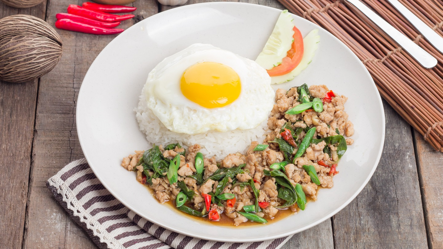 Pad Krapow Chicken with Rice & Fried Egg image