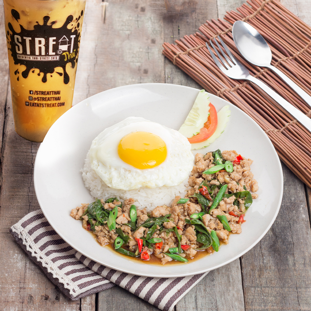 Pad Krapow Chicken with Rice and Egg image